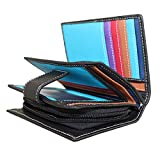 Ladies Luxury High Quality Soft Black (Multi Coloured Inside) Real Nappa Leather RFID blocking Small Multi Fall Purse Multi Credit Card Wallet with Zip Up Coin Compartment