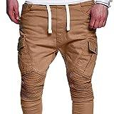 UJUNAOR Jogger Cargo Herren Plissee Chino Jeans Hose mit Kordelzug(Khaki,EU 52/CN 2XL)