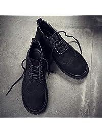 Shukun Stivali da uomo Stivali da Uomo Stivali centrali da Uomo con Gli  Stivali Stivali a Tacco Alto Smerigliati Scarpe… 8a02af99191