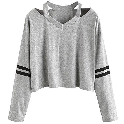Damen Bluse, VEMOW Frauen Mode Streifen Langarm V-Neck Sweatshirt Causal Tops (Damen V-neck-baumwolle Blusen)