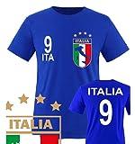 Comedy Shirts - WM 2014 - ITALIEN - VORNE und HINTEN - Nr. 9 - Kinder T-Shirt - Royalblau Gr. 110-116