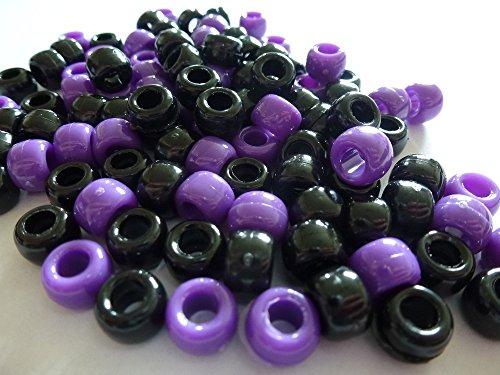 100 x Pony Beads Perlen, Blickdicht, 9 mm x 6 mm Schwarz &Dunkel Lila-Armband Geflochten Loom Gummiringe Dummy Clips, Farbe des Schaftes: Kunststoff, Acryl, Rund, SCHMUCK-, Perlen Und Charms -
