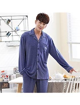 Mangeoo Lovers 'Pijamas Manga Larga de Verano para Hombres, algodón Puro Modle algodón, Primavera y otoño Delgada...
