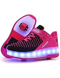 Unisex Recargable Led Luz Automática de Skate Zapatillas con Ruedas Zapatos Patines Deportes
