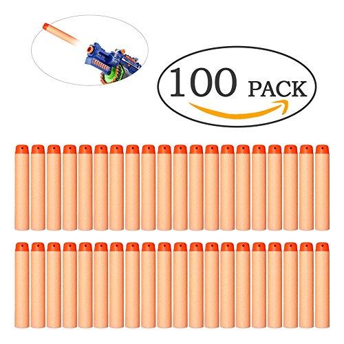Nerf N-Strike Elite Mega - Confezione da 100 freccette di ricarica in schiuma morbida, Proiettili giocattolo per sabbiatrice, Orange