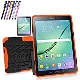 """Windrew Heavy Duty Rugged Impact Hybrid Case with Build in Kickstand for Samsung Galaxy Tab S2 9.7"""" Sm-T810/T815/T817 9.7 Inch Tablet + Screen Protector Film and Stylus Pen (Orange)"""