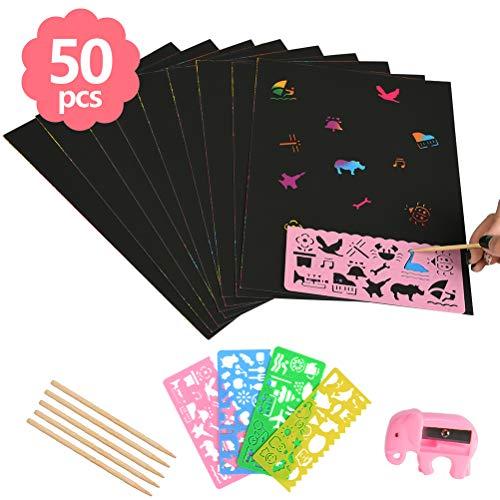 WOWOSS Kratzbilder Set für Kinder,Kratzpapier Set, 50 Große Blätter Regenbogen Kratzpapier zum Zeichnen und Basteln mit Schablonen, Holzstiften und Stickern (26 x 19cm) (Basteln Blättern Mit)