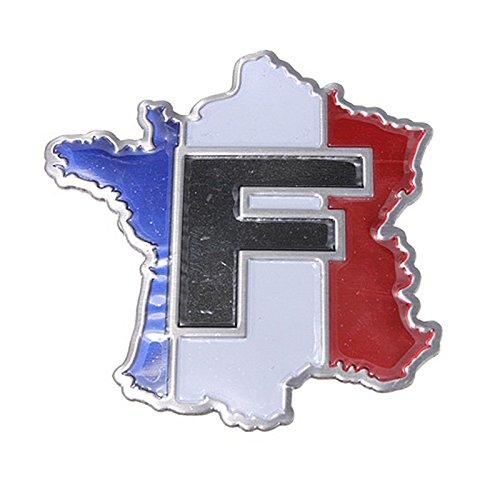TOOGOO(R) 3D Aluminium Legierung Metall FRANKREICH Karte Flagge Emblem Auto LKW Aufkleber -