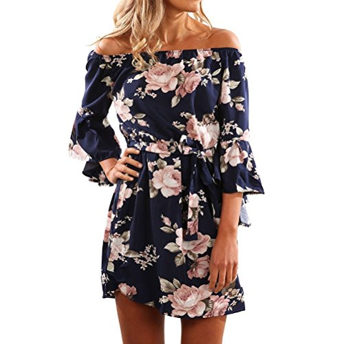 ASCHOEN Damen Casual Minikleid Schulterfrei Kleid Sommerkleid Strandkleid Partykleid Streetwear