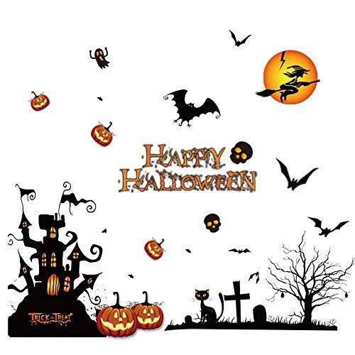 Halloween Party Set Halloween Farbe Static Sticker Fenster Dekoration Aufkleber Burg Kürbis 1 Pack für Festival Cosplay Halloween Kostüm