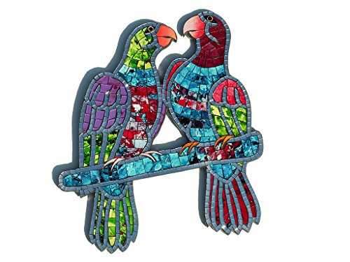 Fair Trade Hand Crafted Mosaic Wall Art Pair of Parrots