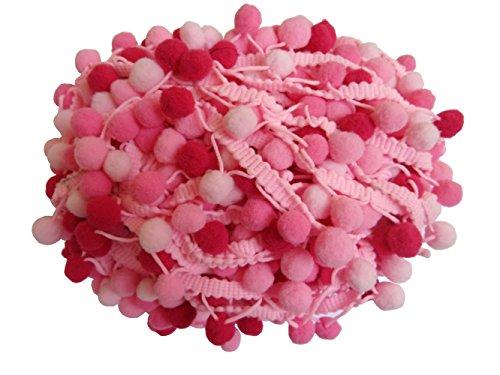 Ball Kette Mit Und Kostüm - YYCRAFT 4,5 Meter langes, fransiges Band mit Pompon-Bällen in regenbogenfarben, zum Nähen geeignet rose