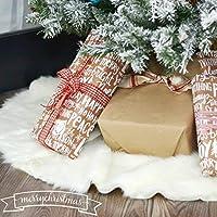 AMADE Gonne per Albero di Natale ,Tappeto Albero di Natale Bianco Peloso Pelliccia Sintetica per Natale/Capodanno / Festa/Decorazione Domestica (90cm)