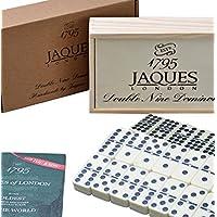 Jaques of London Dominó - Club Doble dominós engastados en una Tapa Deslizante de Madera D9 Box