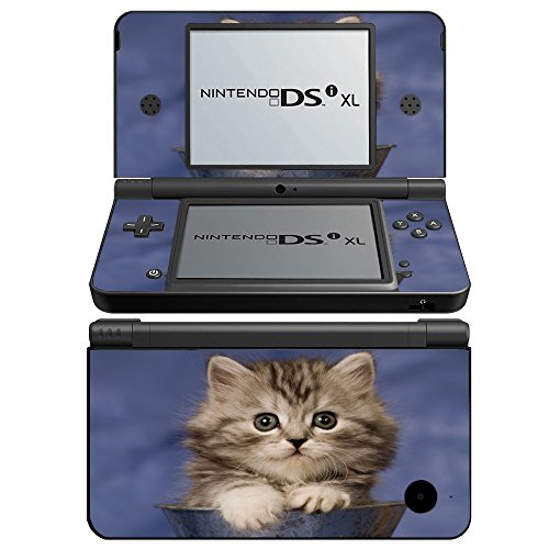 Price comparison product image Cats 076, Cat in Vase, Skin Sticker Vinyl Cover with Leather Effect Laminate and Colorful Design for Nintendo DSi XL Sticker