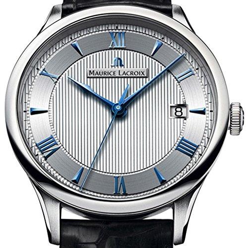 Uhr MAURICE LACROIX mp6407-ss001–111–1Herren Armbanduhr mit Schwarzes Lederband mit silbernem Ziffernblatt und Indices Intensiv blau - 2