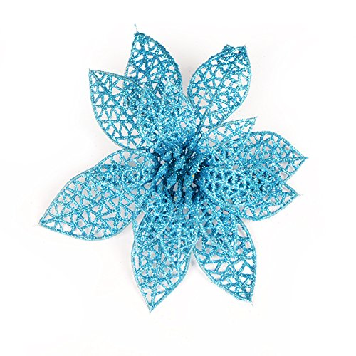 Struggge 10 pcs glitter artificial wedding christmas flowers poinsettia ornamenti per l'albero di natale, 15cm (blue)