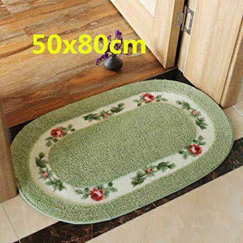 junxinbaby Rustikale Boden Teppich Badezimmer Matte Home Decoration Multi-Größe Oval rutschfeste Badezimmer Teppich Home Küche Teppich Tür Matte Oval Grün 50X80cm -