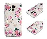 Pour Samsung Galaxy S5 (Non compatible avec S5 Mini) Coque ZeWoo® Étui en Silicone TPU Housse Protecteur - YG015 / Des Rosiers...