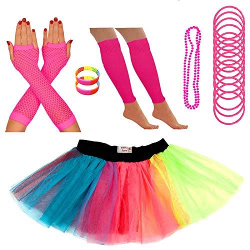 (REDSTAR FANCY DRESS Neon Tütü Rock Bein Wärmer Fischnetz Handschuhe Halskette Perlen Gummiartig Armbänder und Neon Handgelenk Perlen - Regenbogenforelle, 8-12 UK)