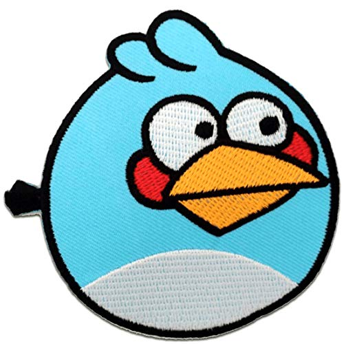 Aufnäher / Bügelbild - Angry Bird - blau - 8,0 x 7,5 cm - Patch Aufbügler Applikationen zum aufbügeln Applikation Patches Flicken (Angry Bird Kissen)