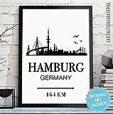 HAMBURG - GERMANY - Bild mit Skyline, individueller Entfernung + Wunschtext - Rahmen optional - personalisiertes Wand-Bild - originelles Geschenk Geburtstag Jahrestag Hochzeitstag
