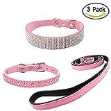 Newtensina 3 Stück Mode Hundehalsband und Leine Set Wildleder Bling Hundehalsband mit Welpen Halsband und Leine für kleine Hunde Katzen