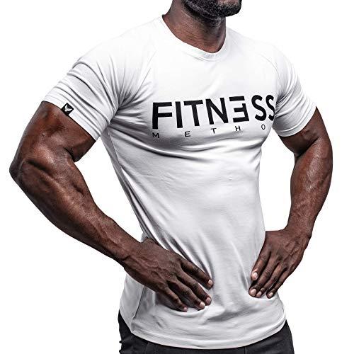 Fitness Method, Sport T-Shirt Herren, Slim-Fit Shirt bequem & hochwertig Männer, Rundhals & Tailliert, Training & Freizeit, Gym & Casual Workout Mann, 95{42ea819f450928f1272a3121c37c9e2415ae56f77707e9bf2c59248e8eea1cbf} Baumwolle, 5{42ea819f450928f1272a3121c37c9e2415ae56f77707e9bf2c59248e8eea1cbf} Elastan, (Weiß-Schwarz, S)