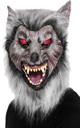 Maske Lauernder Wolf Über Kopf Latex, One Size Wolf-latex-maske