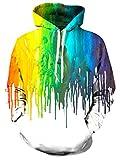 Loveternal Unisex 3D Hoodies Paint Printed Kordel Tasche Make Up Pullover Sweatshirt für Frauen Männer Weiß S