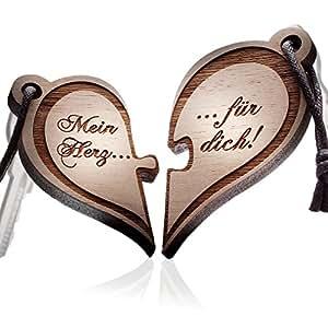 schenkYOU® PUZZLE HERZ Echtholz Schlüsselanhänger mit Gravur - 2 teilig – Ihr Wunschtext + Symbol – gestalten Sie Ihren gravierten Partneranhänger – tolle Geschenkidee
