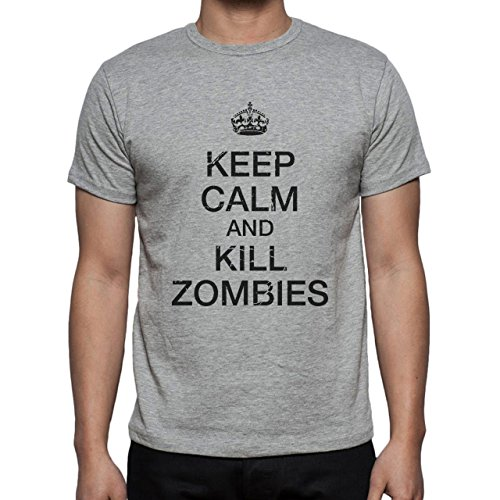 Keep Callm And Kill Zombies Herren T-Shirt Grau