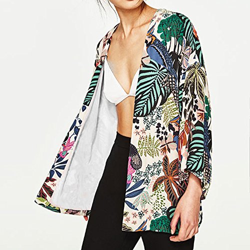 POachers Kimono in chiffon floreale FEITONG oversize con frange scialli Multicolore