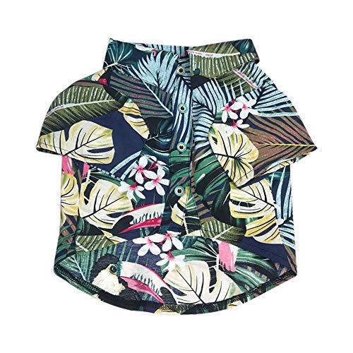 Dontd Hawaii Style Haustier Hund Hemd Frühling Sommer Atmungsaktiv Weiche Baumwolle Kleidung Kostüm - Junge Katze Kostüm