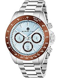 Henry Jay men's stainless steel multi-function specialty GMT aqua master watch, day, date and tachymeter display.