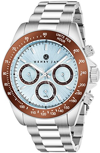 "Henry Jay Herren Edelstahl Multifunktions ""Specialty Aquamaster"" Uhr mit gmt-day-date und Tachymeter Display"
