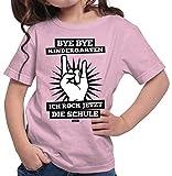 HARIZ Mädchen T-Shirt Bye Bye Kindergarten Ich Rock Jetzt Die Schule Schulanfänger Inkl. Geschenk Karte Rosa 128/7-8 Jahre