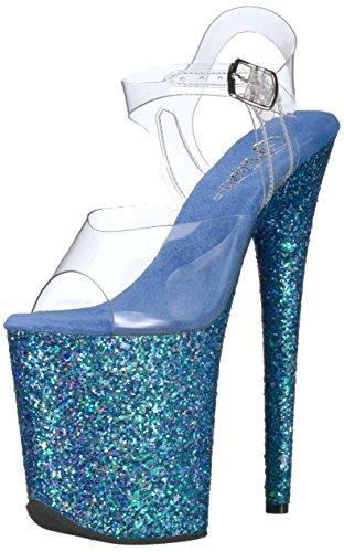 Pleaser Flamingo-808lg, Scarpe Col Tacco Donna Transparent (Clr/Blue Holo Glitter)