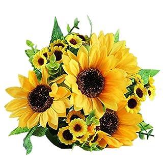L-DiscountStore Ramo de Girasol Artificial 7 Flores por Manojo para la decoración de la Boda decoración de casa Novia celebración Flores Decoraciones Florales