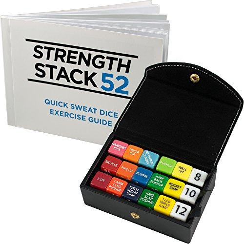 Fitness-Würfel von Strength Stack 52. Körpergewicht-Übung Workout-Spiel. Entworfen durch einen Militäreignungsexperten. Video-Anweisungen enthalten. Keine Ausrüstung benötigt. Brennen Sie Fett und Muskelaufbau zu Hause. (Kasten-Satz: Schwarzes)