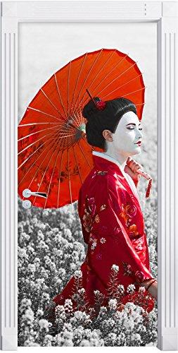 Geisha auf dem Feld B&W Detail als Türtapete, Format: 200x90cm, Türbild, Türaufkleber, Tür Deko, Türsticker