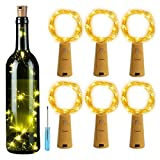 Cork Bottle String Lights, 6 Pack Wine Bottle String Light, DIY Decorative Lighting with Battery Powered,6.6FT 20 LED Silver String Lights for Party, Decor,Christmas,Halloween,Wedding (Warm White)