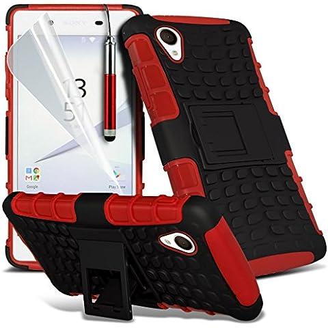 (Rosso) Sony Xperia Z5 Alta qualità Robusta resistente agli urti superstite dura prova Heavy Duty con retro Stand Pelle caso& proteggischermo da i-Tronixs
