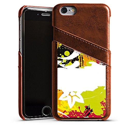 Apple iPhone 4s Housse Étui Silicone Coque Protection Fioriture couleurs Fleurs Étui en cuir marron