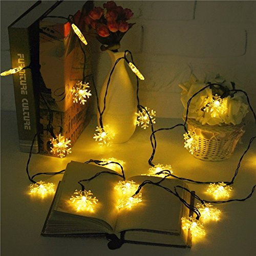 Preisvergleich Produktbild MASUNN 5M 20 LED Schneeflocke Bling Solar Fairy String Lights Christmas Outdoor Party Multicolor Lampe-warm White