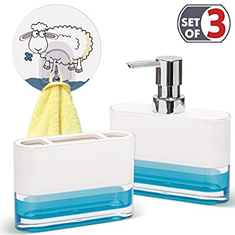 Tatkraft Badezimmer-Zubehör Set: Zahnbürstenhalter, Seifenlotionspender, Selbstklebend Badezimmer Küche Handtuchhaken, Blau, Funny Sheep