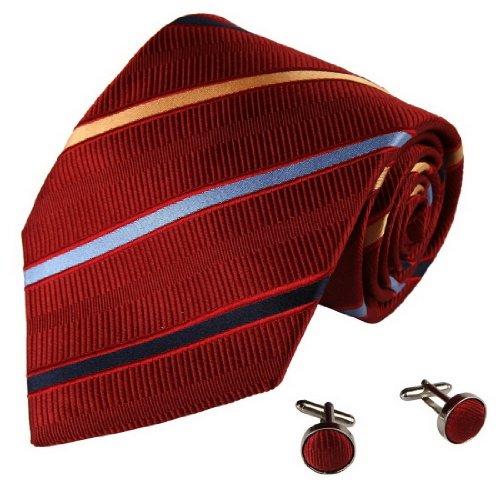 A1025 Crimson oro Stripes Design Store Gift Mens Per Portatori dell'Anello cravatta di seta Gemelli Set 2PT In Y&G