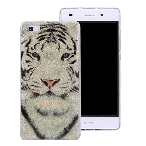 Ecoway Huawei P8 Lite Case Cover, Coque de téléphone IMD Silicone Housse en silicone Housse de protection Housse pour téléphone portable pour Huawei P8 Lite - Tigre