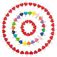 ZeWoo 100 Pcs pinzas de madera para colgar fotos, diseño de corazón with 2*10 Meters Jute Twine y Varios Chinche para DIY Decoraciones (50 piezas coloridas + 50 piezas rojas)