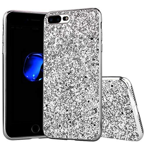 Shinyzone Coque pour iPhone 8/iPhone 7 Étui Briller Paillettes,Douce Mince Antichoc de Silicone TPU [Argent] pour Fille Femme avec Pare-Chocs Placage de Mode Personnalisée